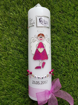 Taufkerze Schutzengelkerze SK119 Pink Holoflitter mit Foto