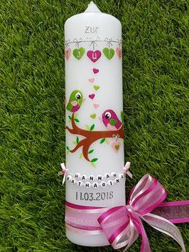 Taufkerze Vögelchen TK 214 Pink-Rosa-Apfelgrün Holoflitter / Schleife Pink-Rosa / Buchstabenkette