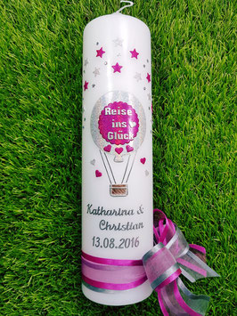 "Hochzeitskerze ""Reise ins Glück"" Heißluftballon HK201 Silber-Pink Holoflitter"