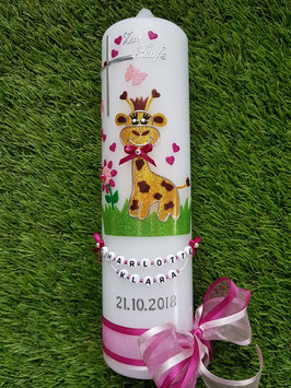 "Taufkerze TK278 ""Giraffe"" in Gelb-Braun-Pink-Rosa Holoflitter"