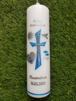 Kommunion - Konfirmationskerze KK609-1 Lichtblau Holoflitter