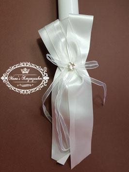 Kerzenschleife mit Blüte & weißen Organzaband KS112