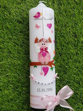 Taufkerze SK155 SCHUTZENGEL Rosa-Pink Holoflitter Buchstabenkette/Satin-Organzaschleife