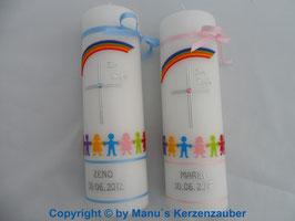 Zwillings Taufkerzen TK112 Klassisch Rosa & Hellblau