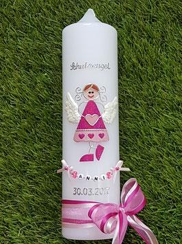 Taufkerze Schutzengel kerze SK118-2 Pink-Rosa Holoflitter / Buchstabenkette