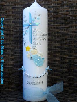 Taufkerze SK150 Schutzengel Kreuz Hellblau-Türkis Hololfitter / Buchstabenkette / Organzaband