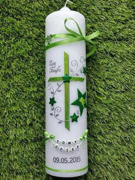 Taufkerze TK102-2 Apfelgrün-Grasgrün Holoflitter mit Sterne