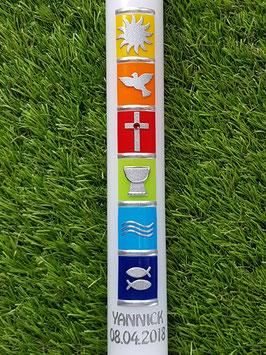 Kommunionkerze oder Konfirmationskerze KK296 Regenbogensymbole Uni