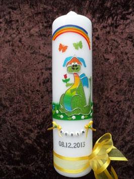Taufkerze TK270 Lustiger Drache Apfelgrün-Gelb-Regenbogen