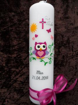 Taufkerze Eule mit Silberschnörkel & Silberschrift TK180-01 Pink-Rosa-Flieder Flitter