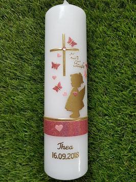 Taufkerze SK154-a SCHUTZENGEL mit Herzen & Schmetterlinge in Gold mit Altrosa & Rosa Holoflitter & Goldschrift / Ohne Schleife