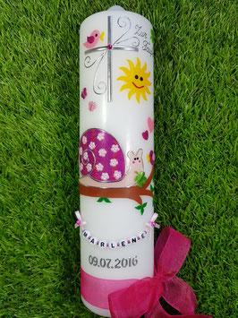 Taufkerze Schneckchen TK182-5 in Pink-Rosa Holoflitter mit Kreuz & Sonne