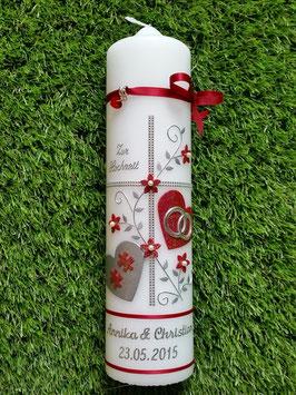 Hochzeitskerze HK109-1 Bordeaux Holoflitter mit Silber & Puzzleteile