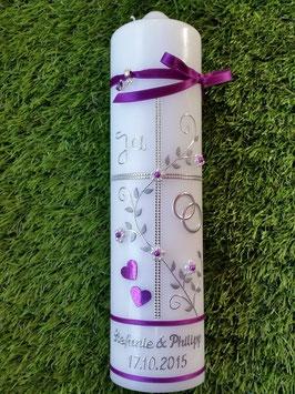 Hochzeitskerze HK109-2 Ja! Brombeerlila Flitter mit Silber