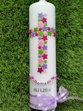 Taufkerze TK201 Kreuz Flieder-Pink-Apfelgrün-Rosa Flitter & Kette