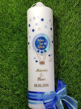 "Hochzeitskerze ""Reise ins Glück"" Heißluftballon HK201 Gold-Dunkelblau-Hellblau Holoflitter"