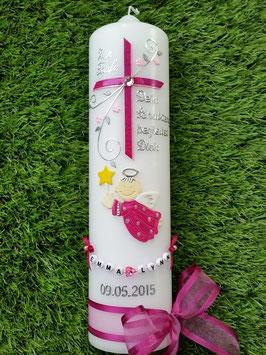 Taufkerze SK150 Schutzengel mit Kreuz Pink-Rosa / Satin-Organzaschleife / Buchstabenkette