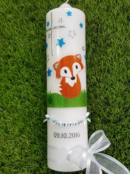 Taufkerze TK209 Fuchs Orange-Weiß-Türkis-Grün Holoflitter mit Sterne / Bänder Weiß