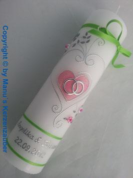 Hochzeitskerze klassisch HK208 Apfelgrün-Rosa Flitter