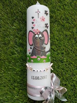 Taufkerze Elefant TK210-8  in Anthrazit-Rosa Holoflitter / Herzen