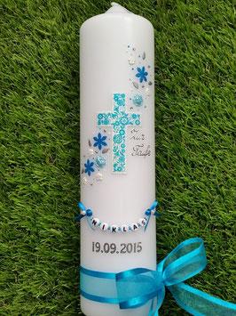 Taufkerze Kreuz Blumenwind TK230 Türkis-Hellblau