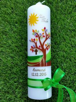 Taufkerze Lebensbaum mit Sonne, Goldschrift & Grünes Satinband TK400