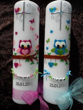 Taufkerzen Zwillinge Eulen TK181 Pink-Rosa & Türkis-Apfelgrün Flitter
