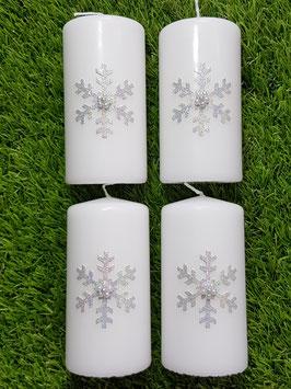 4 Adventskranzkerzen AK203 Eiskristall Silber Holoflitter