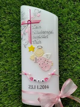Taufkerze SK150 Schutzengel Kreuz Rosa-Pink Hololfitter / Buchstabenkette /Satin-Organzaschleife / Oval