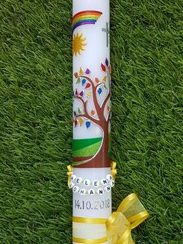 Kommunionkerze Lebensbaum Gelb mit Buchstabenkette TK400 in Regenbogen Farben