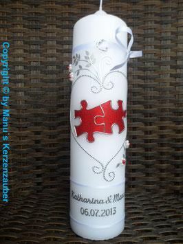 Hochzeitskerze Puzzle HK213 Weiß/Rot