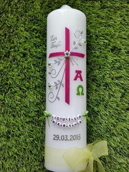 Taufkerze TK138 mit Alpha & Omega in Pink-Apfelgrün Holoflitter