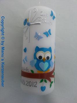 Patenkerze oder Tischkerze EULE das Original mit Silberschrift TK180 in Türkis-Hellblau Flitter