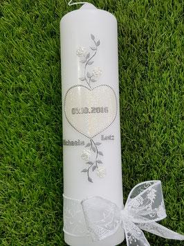 Hochzeitskerze Herz HK100-1 Weiß Holoflitter