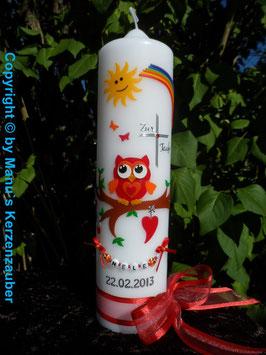 Taufkerze EULE mit Regenbogen & Kette TK181 Rot-Orange ohne Flitter