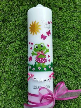 "Taufkerze TK282 ""Froschmädchen"" in Apfelgrün-Pink Holoflitter"