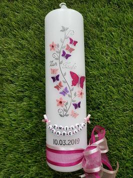 Taufkerze TK089 Schmetterlings- Blumenranke Pink-Rosa-Altrosa-Brombeerlila-Flieder Holoflitter / Buchstabenkette