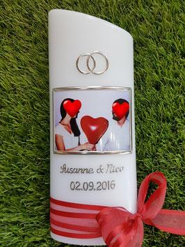 Hochzeitskerze HKS110 Rot - Silber