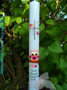 Kommunionkerze EULE das Original KK180 Rosa-Pink Flitter