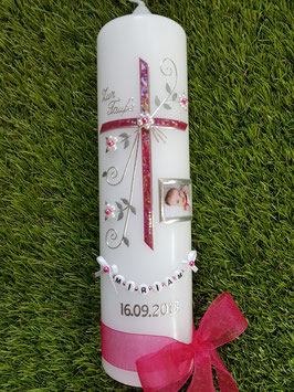 Taufkerze TK130 sehr edel mit Foto Pink Glitzer
