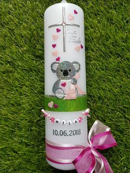 """Taufkerze """"Koala"""" TK217 Rosa-Pink-Apfelgrün Holoflitter / Buchstabenkette"""