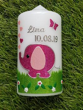 Patenkerze Elefant TK210 Pink-Rosa Holoflitter