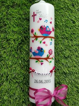 Taufkerze Vögelchen TK 213 Pink-Rosa-Türkis Flitter