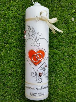 Hochzeitskerze HK208 Klassisch Creme-Orange Uni