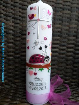 Trauerkerze Marienkäfer TRK184 in Pink-Rosa