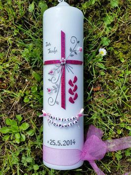 Taufkerze TK135 >> 6 Füsschen in Pink Holoflitter