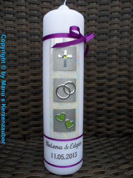 Sehr edle Hochzeitskerze HK210 Brombeerlila-Apfelgrün