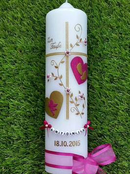 Taufkerze TK109-2 Klassisch Pink Holoflitter-Gold  & Buchstabenkette