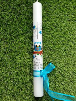 Kommunionkerze EULE das Original KK181 Türkis-Anthrazit Holoflitter