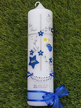 Taufkerze Kreuz mit Stern TK109-5 Dunkelblau Holoflitter-Silber mit Stern
